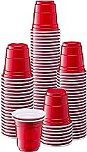 [100 Count - 2 oz.] Mini Plastic Shot Glasses - Red Disposable Jello Shot Cups