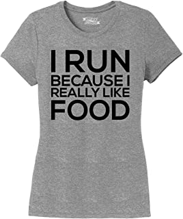 Ladies I Run Because I Really Like Food Funny Workout Tri-Blend Tee