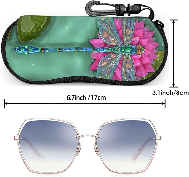 KAETZRU Glasses Case Dragonfly Flower Floral Lotus Leaf Lotus Portable Eyeglass Case Ultra Light Neoprene Zipper Sunglasses Bag with Belt Clip