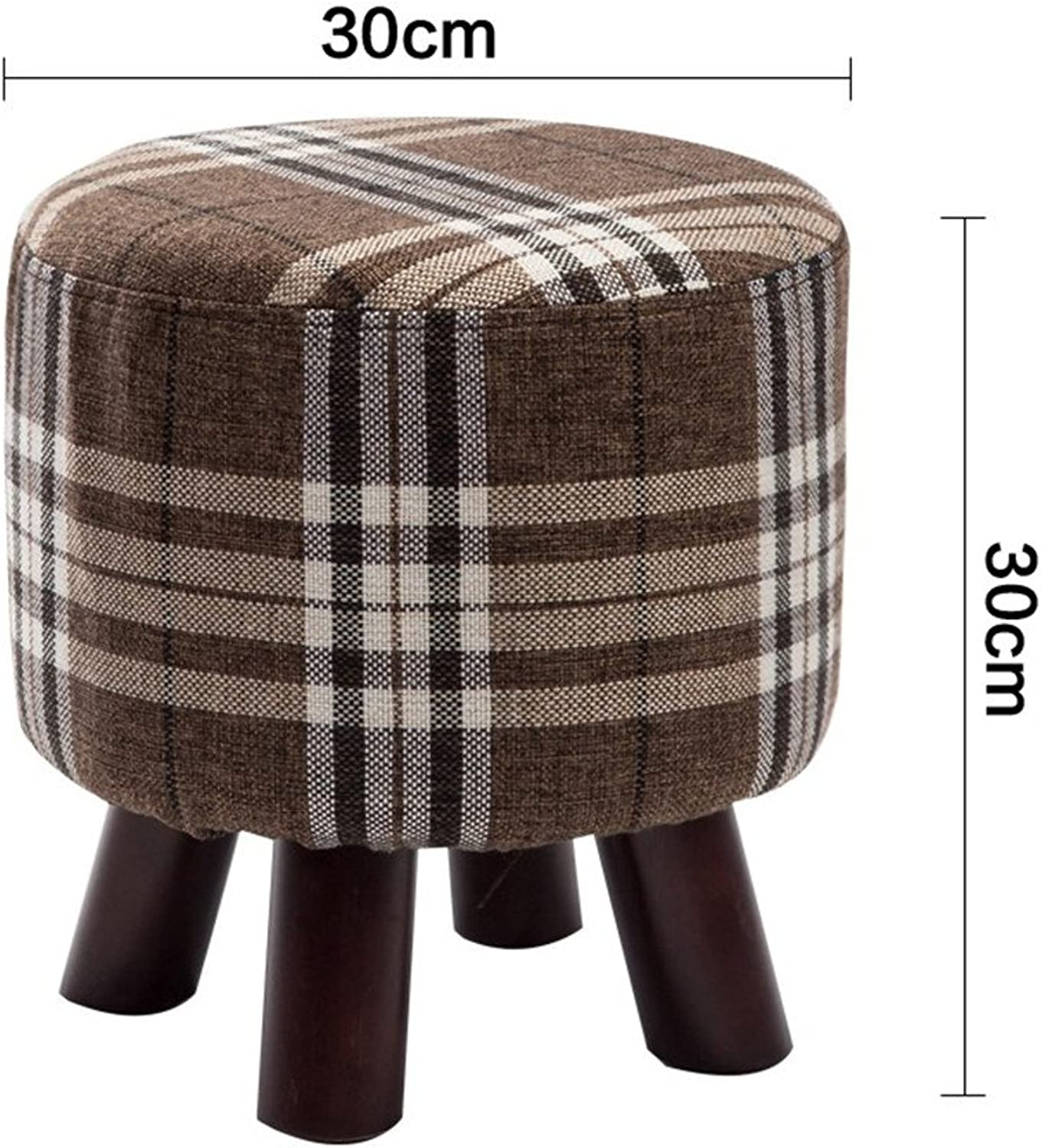 Round Wooden Footstool,Padded Non-Slip Stools Detachable seat Cover Strong Bearing Capacity for Office Living Room Bedroom-B 12x12inch