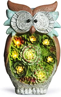 GROWNEER 10 Inches Solar Powered Garden Statue Resin Lawn Ornaments Indoor Outdoor Owl Sculpture for Holiday Gift, Home Dé...