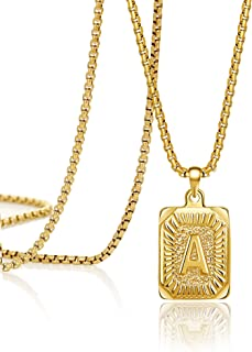JoycuFF 18K Gold Filled Initial Capital Letter Pendant Necklace Square Alphabet Rectangle Medallion Personalized Handmade ...