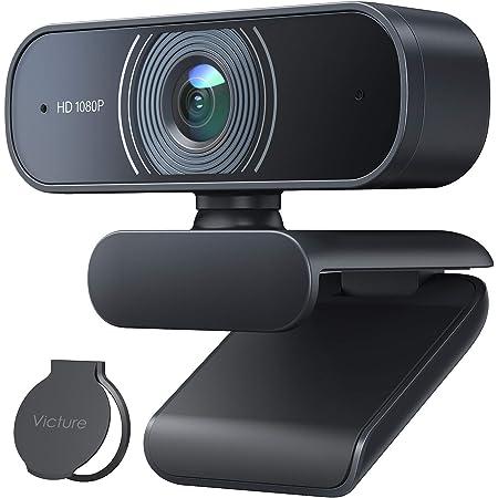 Victure Webcam 1080P Full HD con Microfono, Stereocamera con Copri Obiettivo per Privacy per PC, Desktop, Lapto, Plug and Play per Lezioni, Lavoro Online, Conferenze, Compatibile con Skype, Zoom