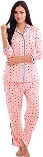 ZEYO Women's Cotton Blue & Pink Floral Print Night Suit
