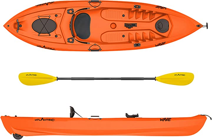 Kayak-canoa wave arancio cm 305-2 gavoni - schienalino - pagaia - ruotino - portacanna atlantis B0851QNPT8
