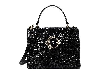 Brahmin Melbourne Luxe Mini Francine Satchel (Black) Handbags
