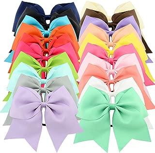 20pcs 8 Grosgrain Ribbon Large Cheer Hair Bow Ties Ponytail Holder Elastic Band Cheerleading Ties for Girls Teens Senior Children Kids Toddlers and Women