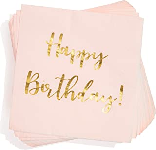 Juvale Blush Pink Happy Birthday Paper Cocktail Napkins with Gold Foil (50 Pack)