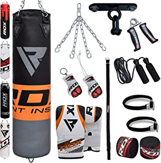 RDX Punch Bag for Boxing Training | Filled Heavy Bag Set with Punching Gloves, Chain, Ceiling Hook | Great for Grappling, MMA, Kickboxing, Muay Thai, Karate, BJJ & Taekwondo | 13 pcs Comes in 4FT/5FT