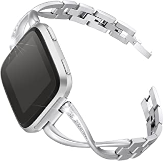 bayite Stainless Steel Bands Compatible Fitbit Versa for Women, Bling Band Bracelet with Rhinestones Diamond X-Link Access...