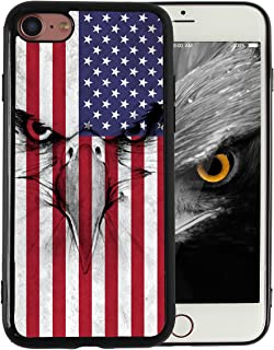 KITATA iPhone 7 iPhone 8 Case American Flag Eagle Vintage Print Design Slim Fit in Tough Smooth Black TPU for Boys Men Cool Designs Protective