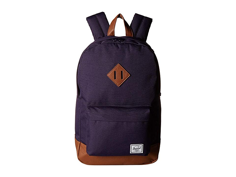 Herschel Supply Co. Heritage Mid-Volume (Purple Velvet/Tan Synthetic Leather) Backpack Bags
