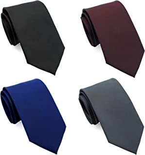 "Extra Long Ties 4-PAK for Tall Men, 63""/XL & 70""/XXL NeckTies Standard Width, Hand Made by ZENXUS"