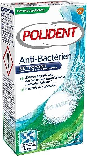 POLIDENT - Nettoyant Antibactérien - Pour Prothèses Dentaires Partielles ou Complètes - Format : 1 X 96 comprimés