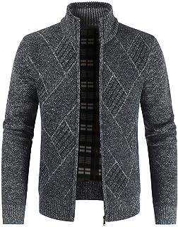 Men Cardigan Sweater Coat, Male Striped Printed Long Sleeve Zipper Jacket Outwear Winter