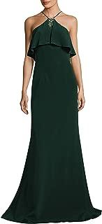 David Meister Floor-Length Halter Popover Crepe Gown in Hunter Green