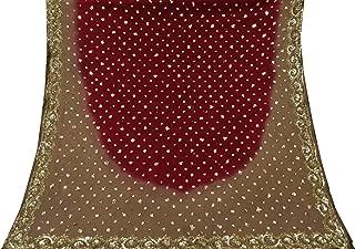 Vintageandyou Maroon Hand Beaded Long Georgette Dupatta Scarf Craft Veil Stole