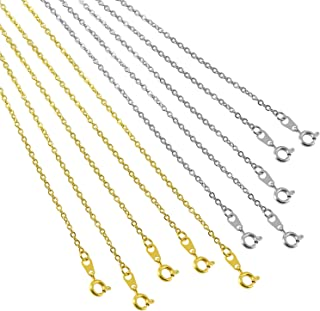 Forise 10Pcs 18 Inches Stainless Steel Cross Chains Necklace Gold and Silver Link Cable Chain Charms with Spring Clasps for Jewelry Making,1.5mm