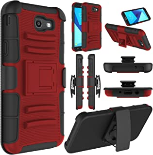 Elegant Choise Galaxy J7 Sky Pro Case, Galaxy Halo, Galaxy J7 V Case, Galaxy J7 Perx Case, Heavy Duty Full Body Protective Cover with Belt Swivel Clip and Kickstand for Samsung Galaxy J7 2017 (Red)
