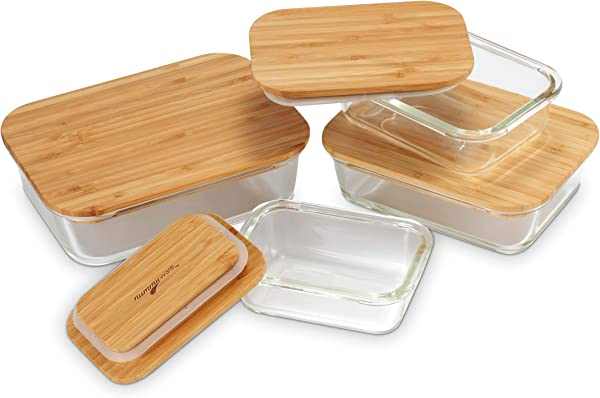 Nummyware Plastic Free Glass Food Containers With Sustainable Bamboo Tops Set Of 4 370mL 640mL 1040mL 1520mL