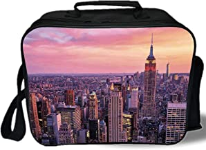 Cityscape 3D Print Insulated Lunch Bag,New York City Midtown with Empire State Building Sunset Business Center Rooftop Photo,for Work/School/Picnic,Peach