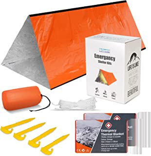 Mrsharkfit Emergency Tent with 2 Emergency Blanket – 2 Person Emergency Tent – Use As Survival Tent, Emergency Shelter, Tu...