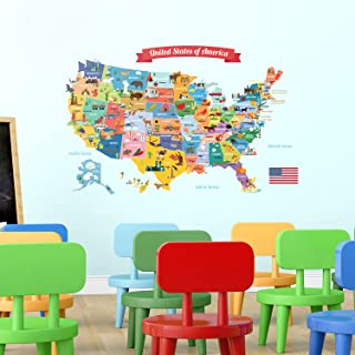 DECOWALL DL-1906 USA Map Kids Wall Stickers Wall Decals Peel and Stick Removable Wall Stickers for Kids Nursery Bedroom Li...