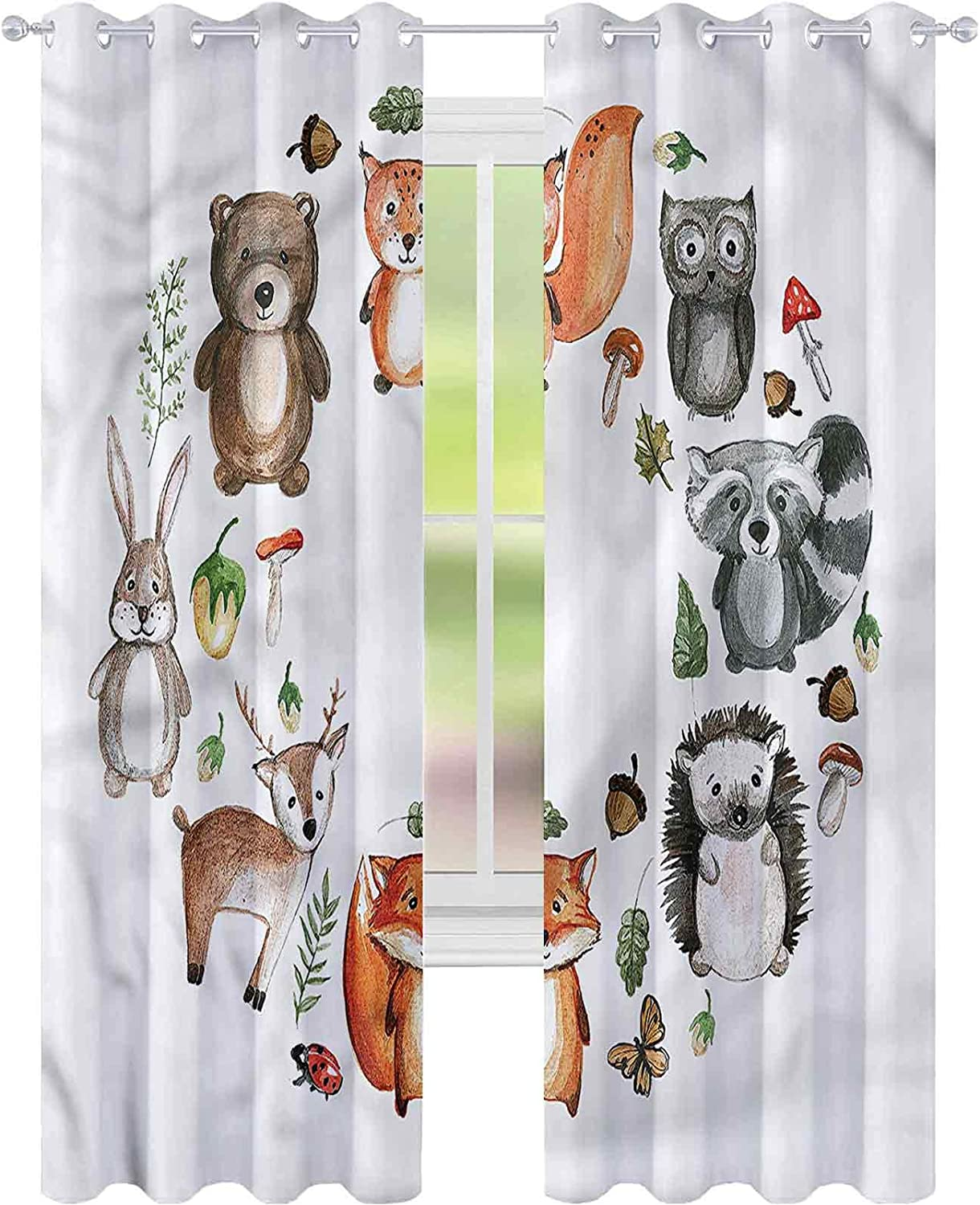 Window Curtain Drape Woodland Super beauty product restock quality top Animals of Forest W42 Acorn L72 x Max 49% OFF