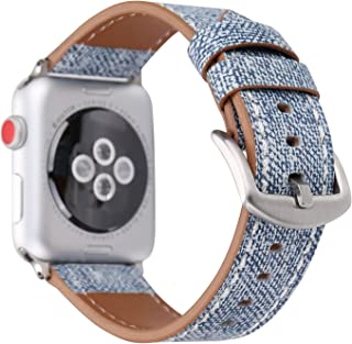 WONMILLE Band for Apple Watch 38mm 42mm, Denim Fabric Adjustable Replacement Wristband Strap with Stainless Steel Clasp for iWatch Series 3,Series 2,Series 1,Sport, Edition (Light Blue, 42mm)