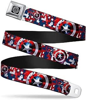 Seatbelt Belt - Captain America Shield Digital Camo Blue/White/Red - 1.5