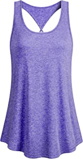 Cucuchy Womens Yoga Workout Tank Tops Athletic Sleeveless Open Back Running Shirts
