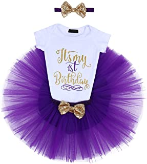 ODASDO Baby Girl First Second Half Birthday Cake Smash Outfit Princess Tutu Dress Romper + Skirt + Headband 3pcs Set