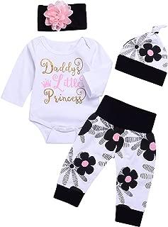 Cute 4PCs Newborn Kids Baby Girl Daddy Little Princess Romper + Flowers Pants + Hat + Flower Headband Winter Outfit