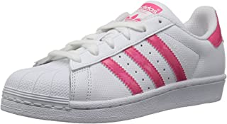 adidas Originals Unisex-Kids Superstar J, White/Real Pink/White, 7 M US Big Kid