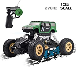 Vanzer 1:22 Scale Mini Military RC Off-Road Truck Toy Car,4WD Racing Remote Control Buggy, Rechargeable Hobby Crawlers Monster Jeep All Terrain Climbing Waterproof,Xmas Gift for Boys Girls Kids Adults