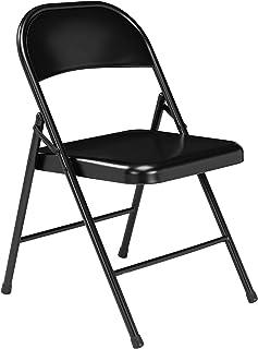 National Public Seating Silla Plegable, Acero, Negro, 18.25 x 18.5 x 29.5