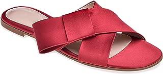 Women Cross Band Red Suede Slippers Black Satin Fringe Beach Shoes Dark Blue Velvet Sandals