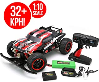 RC CHARGERS Beast Brushless Remote Controlled RC Truck, 1:10 Scale Brushless Motor | 20 MPH, Strong Suspension, 2.4GHz, Pistol Grip Control | 9.6v Battery and Charger Included