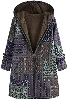 SFE Women Coats Fall Vintage Print Plush Lined Zip Up Hoodd Cardigans Long Sleeve Thickened Warm Jacket with Pocket