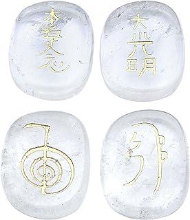 Jovivi – Lote de 4 piedras naturales grabadas con símbolo Usui Reiki ovalado, 20 x 25 mm, ellipse aplanado, tibetano, budi...