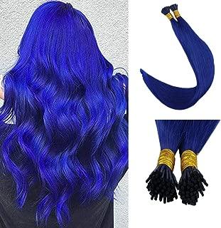 Full Shine Keratin Hair Extensions 18 Inch I Tip Hair Extensions Blue Color 0.8g Per 40g Per Set 100% Real Remy Human Hair Extensions Reheating Bead Hair Extensions