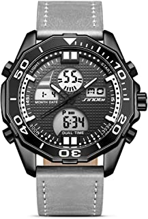 Casual Leather Mens Digital - Analogue Multifunctional Watch with LED Back Light Dial and Chronograph Alarm