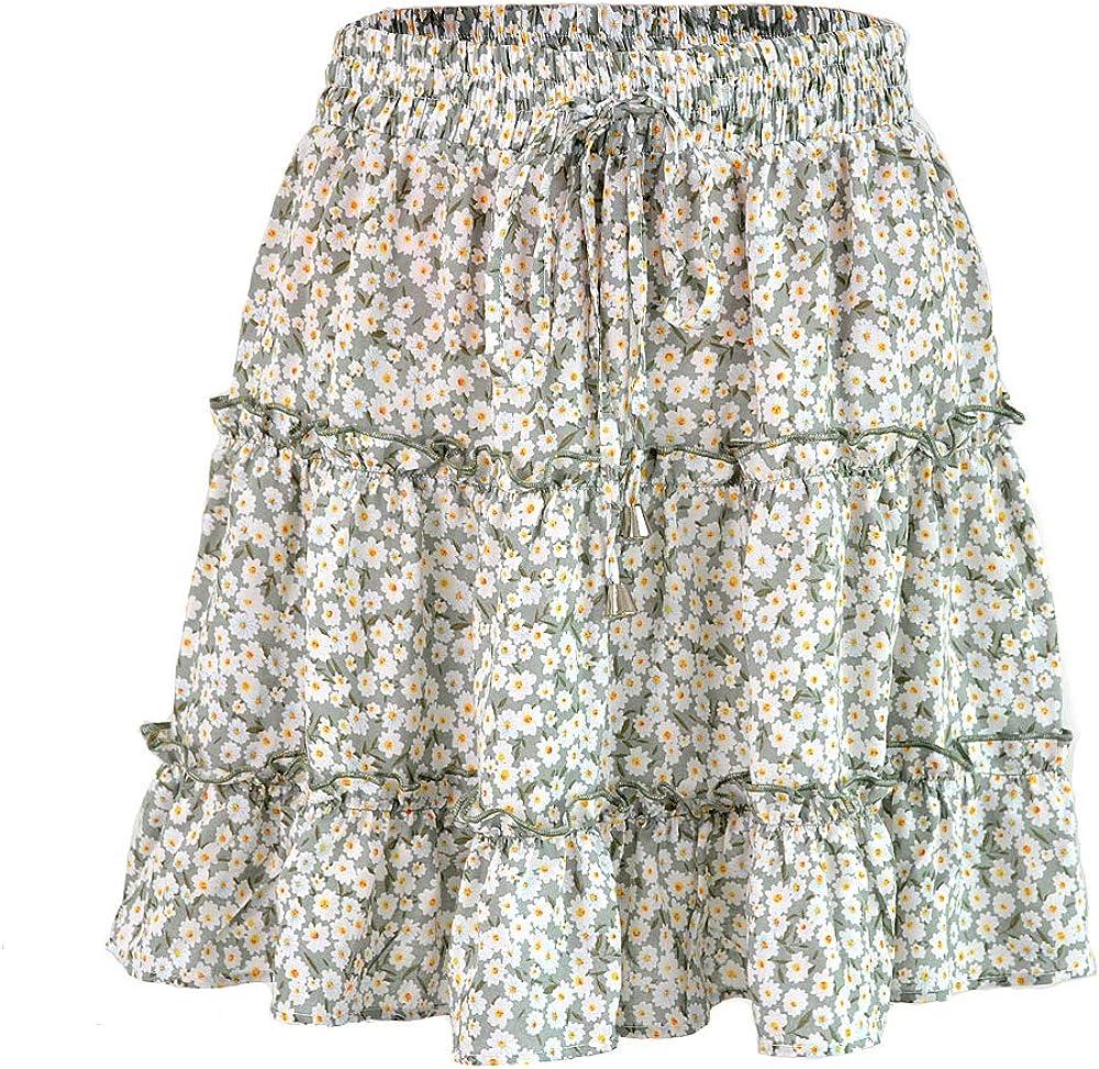 Aeslech Women's Summer Cute 1 year warranty High Ruffle Floral Skirt New Shipping Free Boho Waist