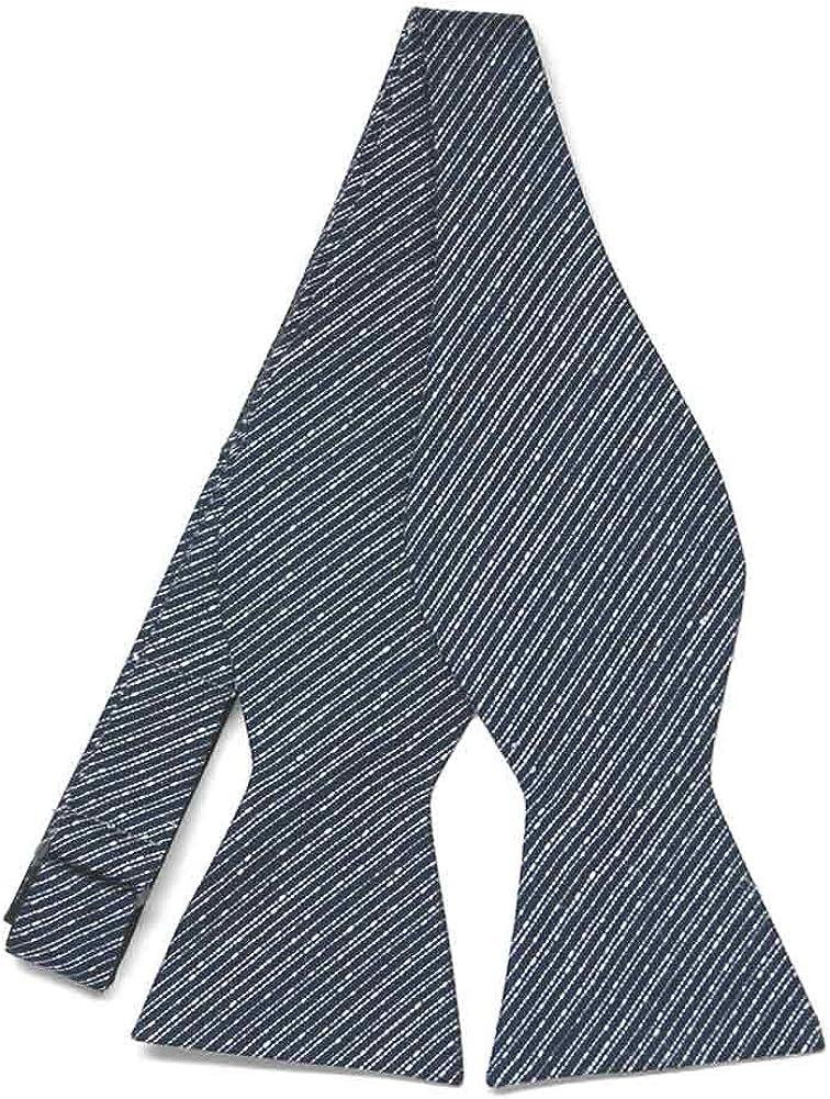TieMart Regent Morris Neckwear Navy Blue Knight Stripe Linen/Silk Self-Tie Bow Tie
