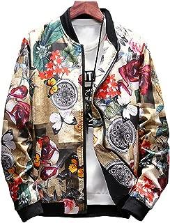 Men's Japanese Printed Slim Fit Lightweight Flight Bomber Jacket Coat