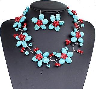 Collana di perle di turchese intrecciato a mano a 18 pollici con orecchini con collana di collane di choker con orecchini
