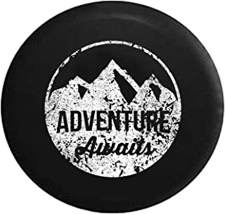 Distressed - Spare Tire Cover Adventure Awaits Mountain Scene Stamp Style 33 Inch