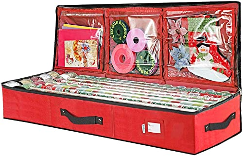 """Primode Wrap Storage Bag for 40 Inch Wrapping Paper, Ribbon and Bows Organizer, 41""""x 14""""x 6 Wrap Storage Box Containe..."""