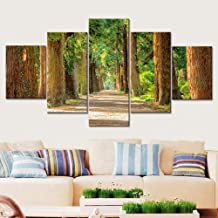 JCILZX Modular Canvas HD Printed Picture 5 Pieces Tree Lined Path Paintings Living Room Home Decor Wall Art Scenery Posters Framework