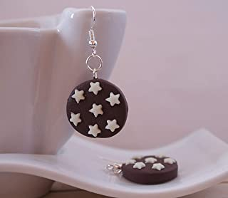 Orecchini Ispirati ai Pan Di Stelle in FIMO Fosforescente Kawaii Cute Earrings Chocolate Jewerl Handmade Polymer clay Glow...